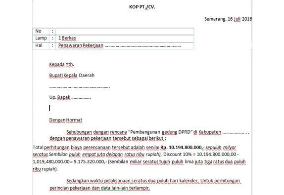 Contoh surat penawaran pekerjaan lelang project bangunan