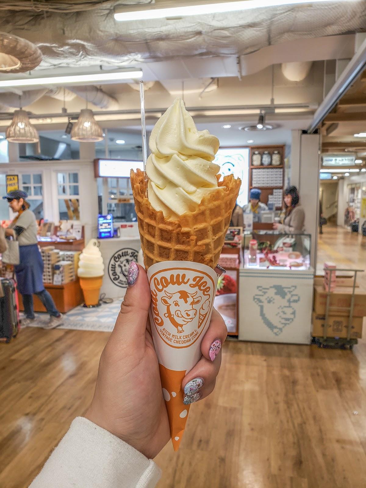 shinjuku japan food foodie cheese waffle cone hokkaido milk