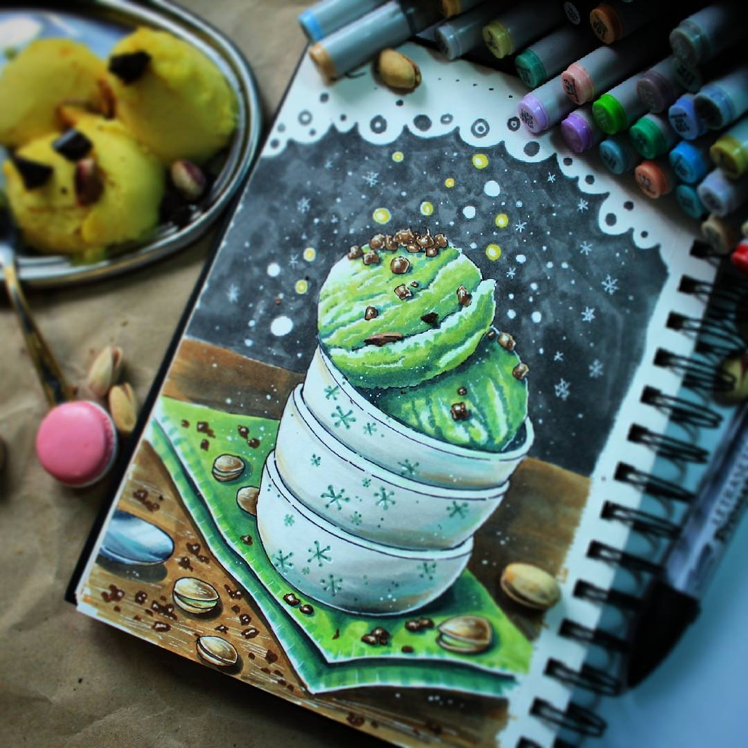 04-stepashkina-Cakes-Pastries-and-Drinks-Food-Art-Drawings-www-designstack-co