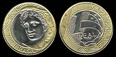 Brazil 1 Real (1998-2000) nickel center coin