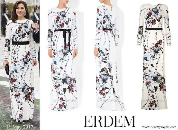 Crown Princess Mary wore ERDEM Agnes Silk Crepe Gown