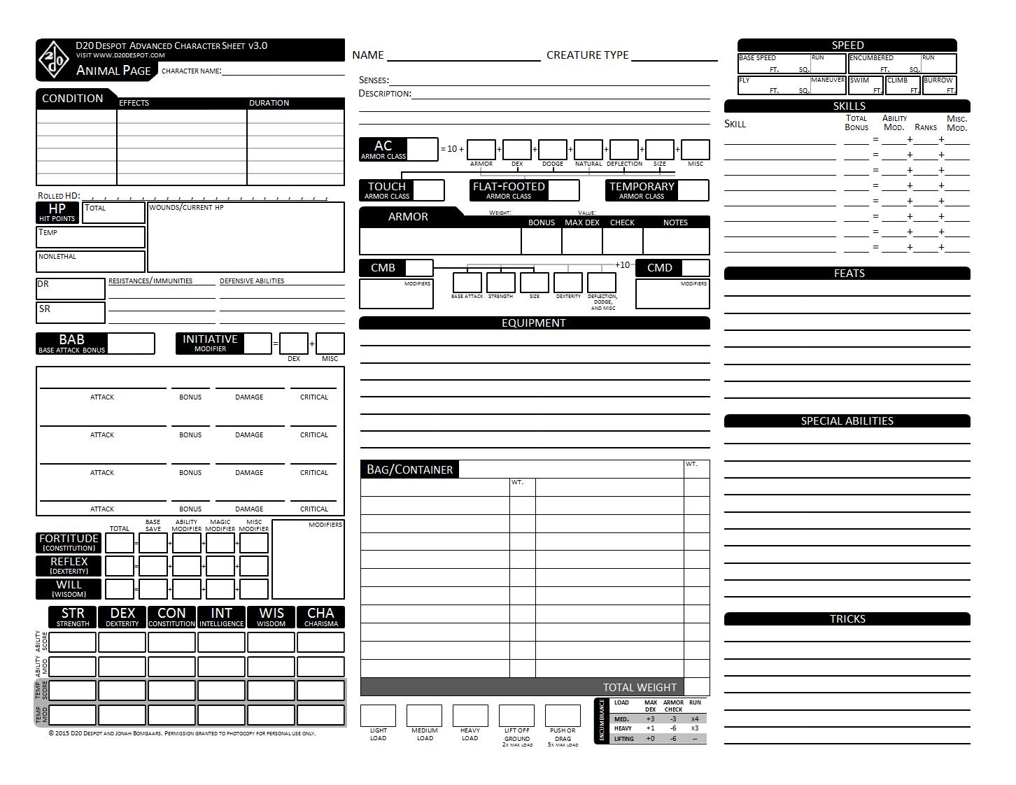 d20 Despot: Advanced Character Sheet 3 0 for Pathfinder