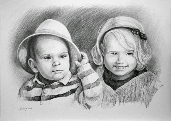 Kinderporträt Portrait vom Foto gezeichnet