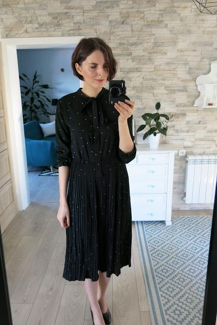 Sukienka | Dot black dress