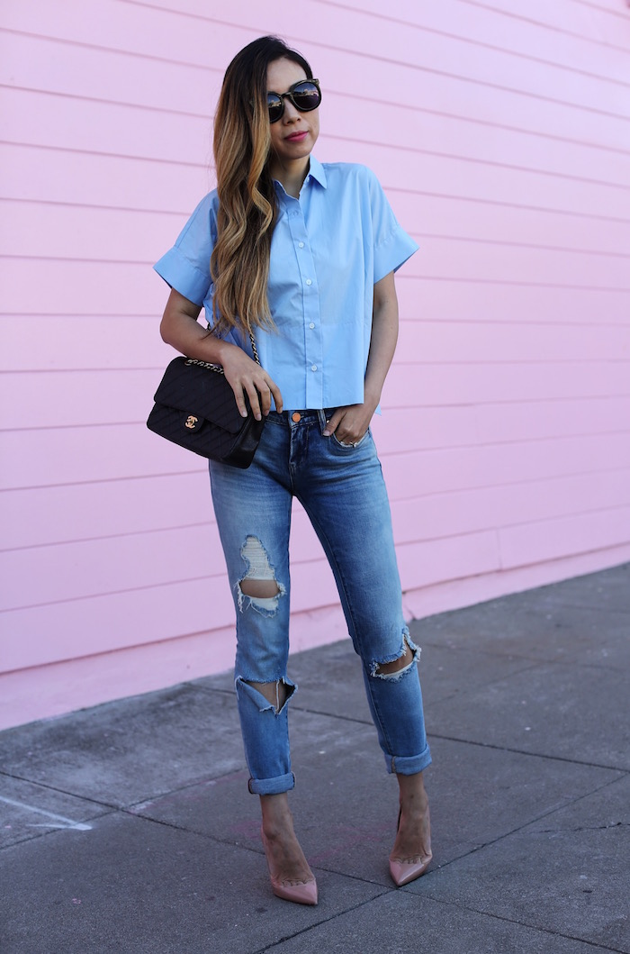 Everlane square shirt, everlane, blank denim jeans, karen walker sunglasses, casual outfit, san francisco fashion blog, summer essential, chanel classic flap bag, christian louboutin so kate pumps