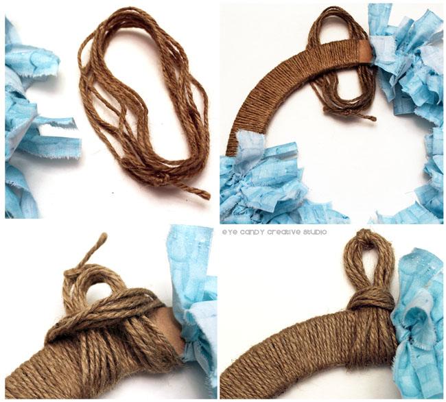 jute, step by step to making a rag wreath, sea blue fabric, beach wreath