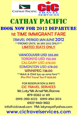 Moving to Canada?  Book Now for 2012 Departure | First Time Immigrant Fare