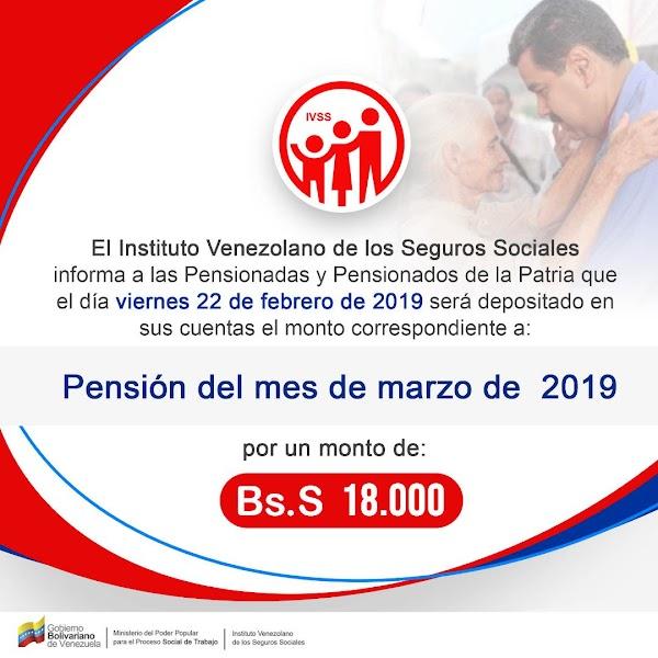 Este viernes 22 de  febrero pensionados del IVSS cobrarán el mes de marzo