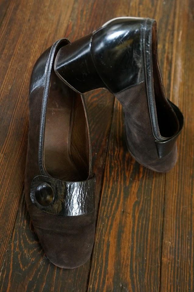 suede 60s mod heels button vintage années 60 1960s