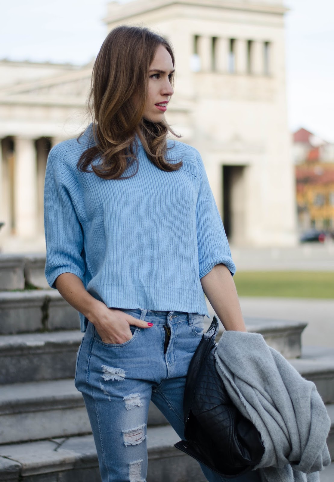 kristjaana mere knitted sweater top ripped boyfriend jeans