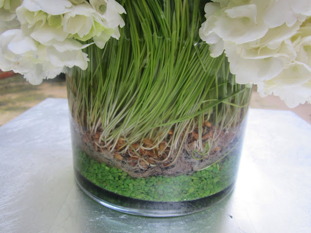 Close up of wheat grass and green sand in a flower arrangement on a metal table on a patio