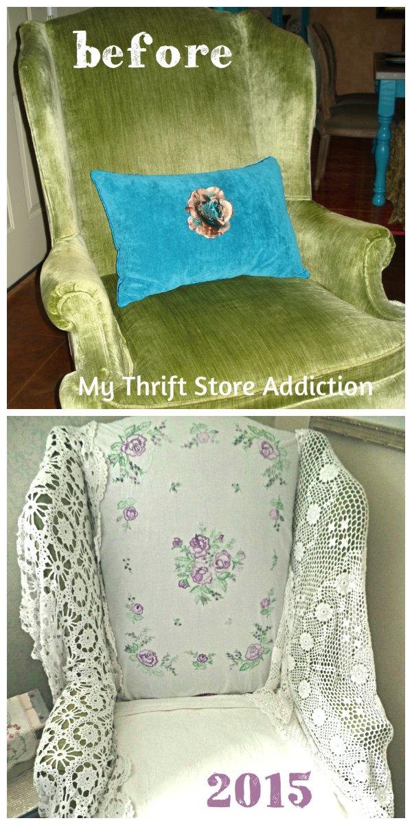 Friday's Find Vintage Favorites Estate sale velvet chair makeover  mythriftstoreaddiction.blogspot.com