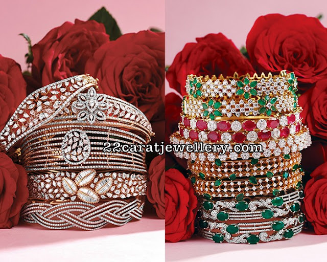 Diamond Emerald Latest Broad Bangles