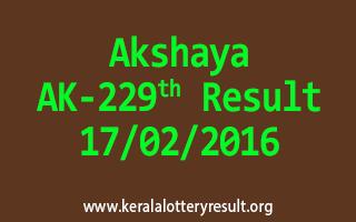 Akshaya AK 229 Lottery Result 17-02-2016