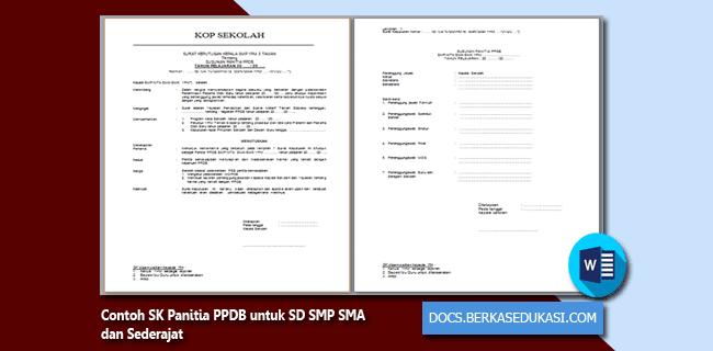 Contoh SK Panitia PPDB untuk SD SMP SMA dan Sederajat