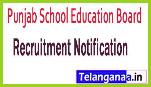 Punjab School Education Board PSEB Recruitment Notification