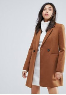 Manteau Ajusté Marron Warehouse via Asos