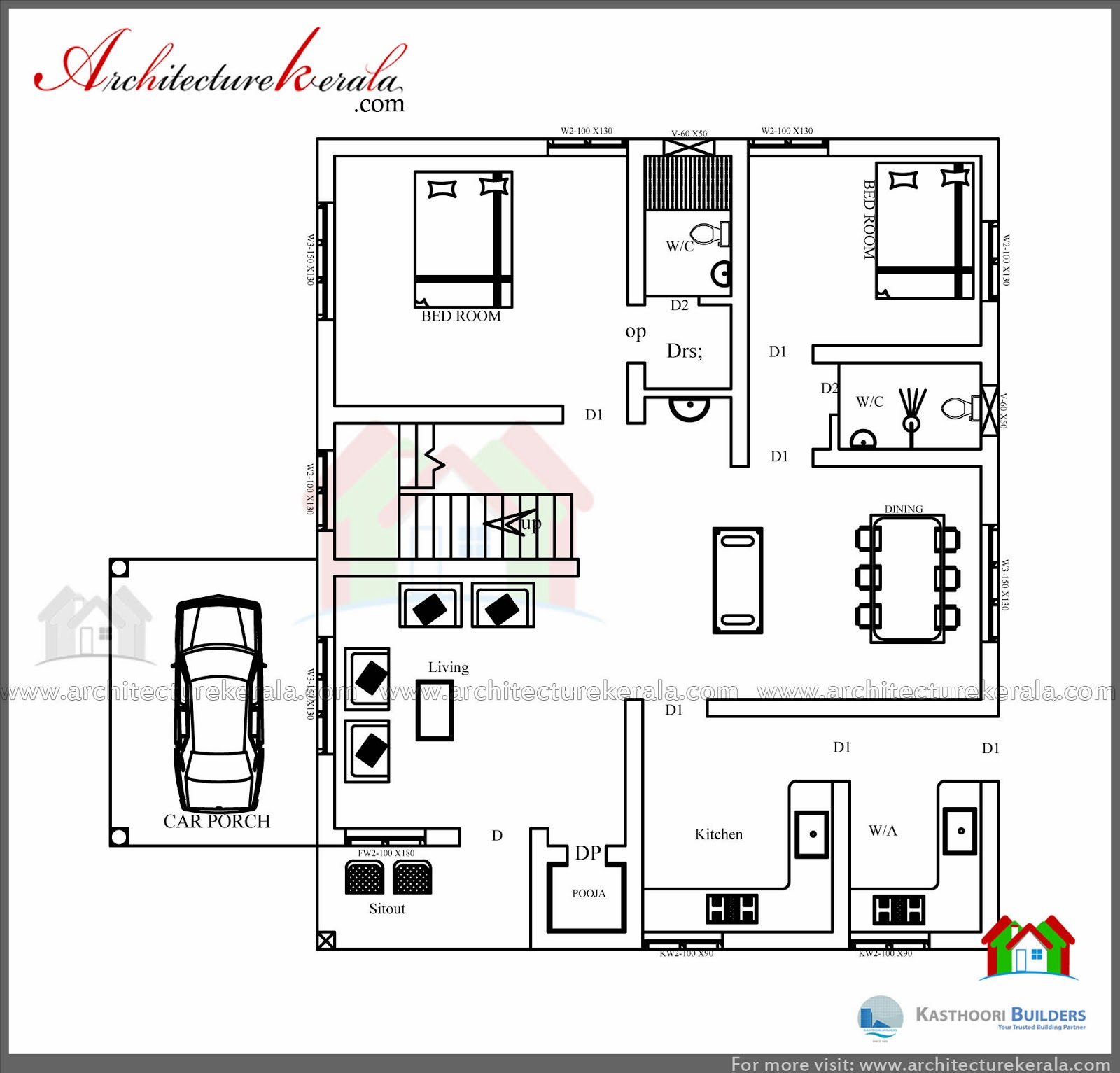 Low cost 3 bedroom kerala house plan with elevation free for Low cost per square foot house plans