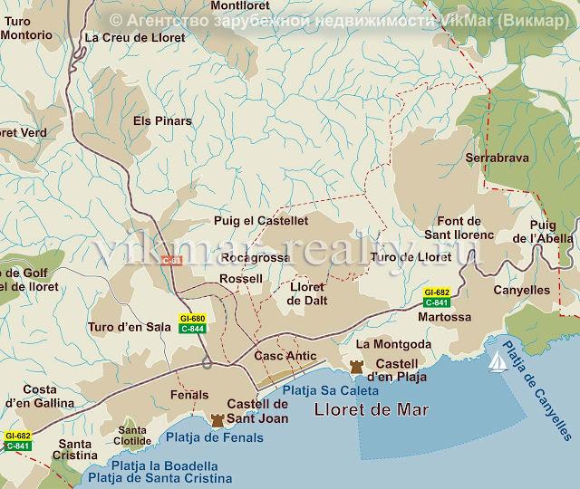 Карта жилых районов города Ллорет де Мар (Lloret de Mar), Испания