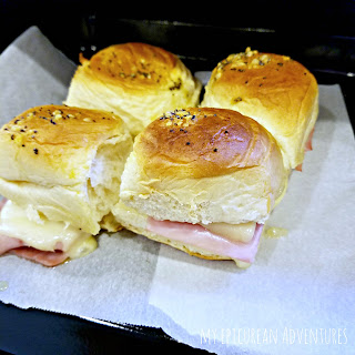 Ham and cheese sliders for lunch boxes. Super easy and super yummy!
