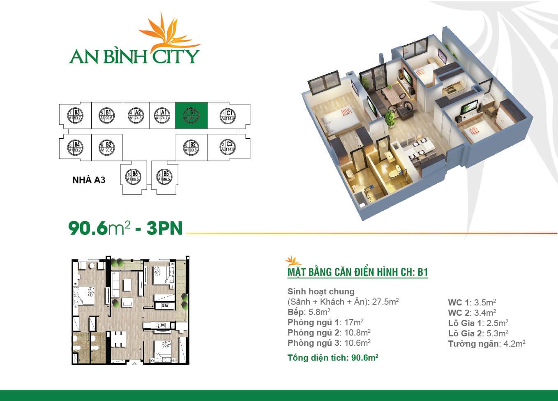 Thiết kế mặt bằng căn hộ 90,6 m2 - An Bình City