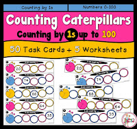 Counting by 1s using numbers 20 to 100. This pack includes 50 task cards and 6 worksheets