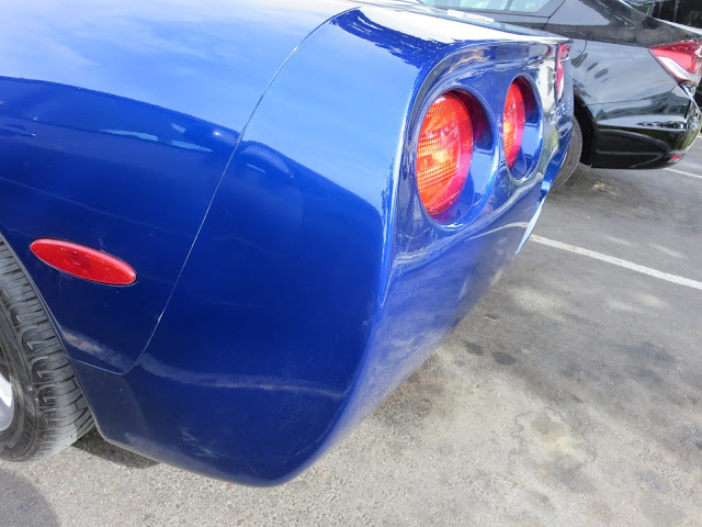 Corvette Bumper and quarter panel after repairs at Almost Everything Auto Body.