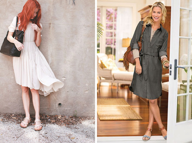 Девушки в платьях с минималистскими сандалиями