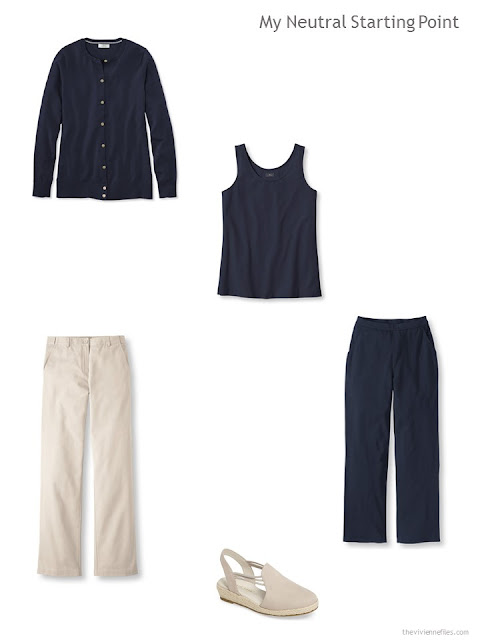 four navy and beige wardrobe starters