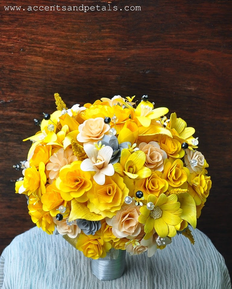 Yellow And Grey Wedding Flowers: Yellow Grey Wedding: Yellow, Grey And Ivory Bouquet Made