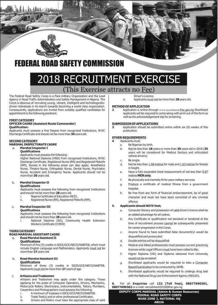 FRSC Recruitment 2018 : Login Portal, Requirements and How