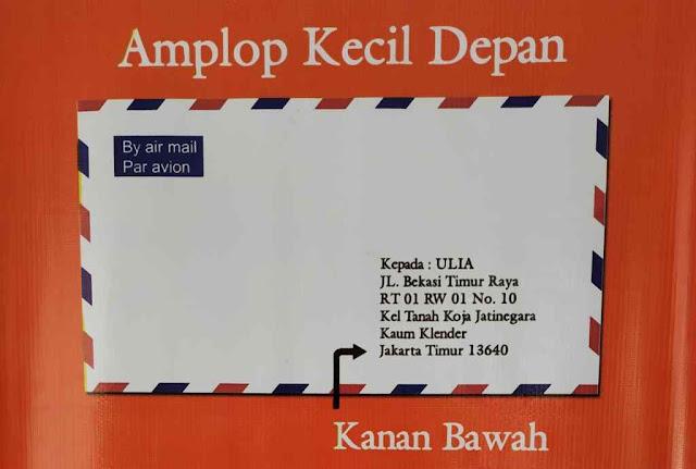 Contoh Penulisan Alamat Surat Pada Amplop Kecil atau Amplop Surat