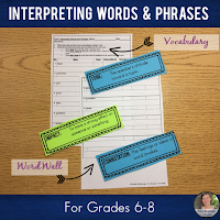 Teach your Middle School students the key vocabulary associated with interpreting words and phrases: impact, word choice, tone, mood, effect, establishes, emphasize, repetition, figurative language, denotation, connotation, stanza, excerpt, allusion, analogy. #poetry #poetrylessons