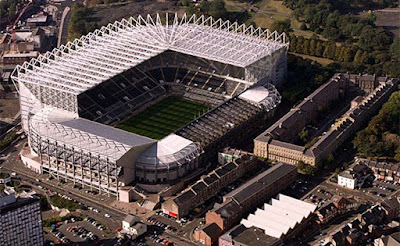 An aerial view of Newcastle United's home ground, St James' Park