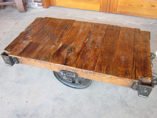 Rustic Coffee Table from a Reclaimed Furniture Factory Cart