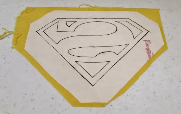 Attaching the super hero logo patch - step 2