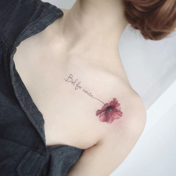 Beautiful Flower Collar Bone Tattoos For Women
