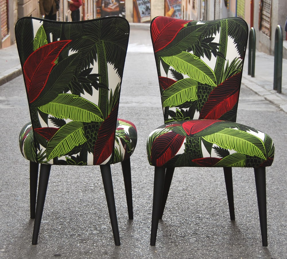 La tapicera sillas tapizadas con tela tropical - Telas chenille para tapizar ...