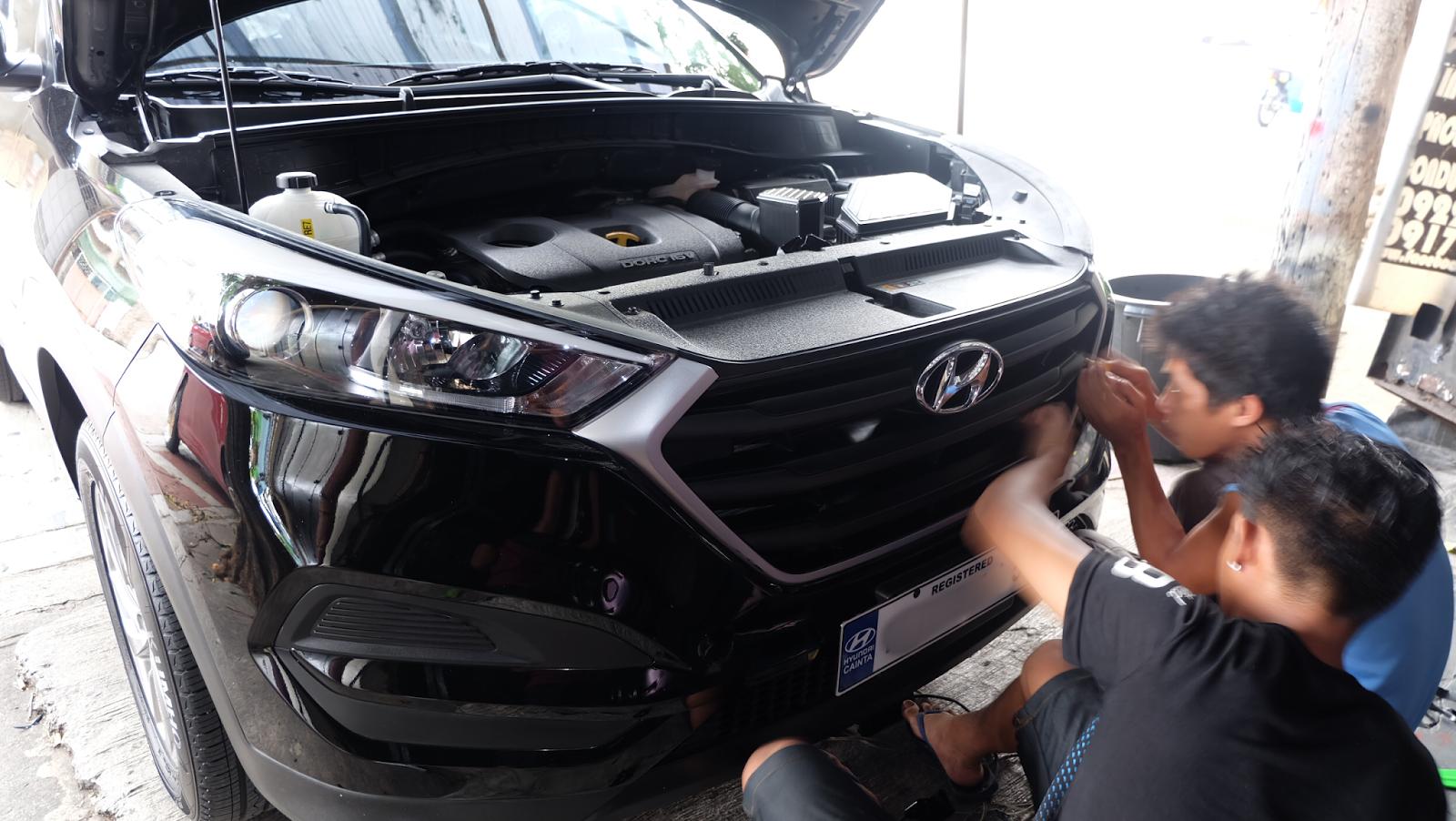 Road to stealthy look : Matte black vinyl wrap on Hyundai