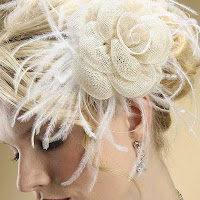 Sinamay Rose Wedding Comb with Ostrich Feathers
