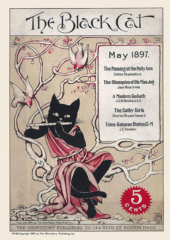 "estilo grafico art nouveau, portada de la revista ""The Black Cat"""