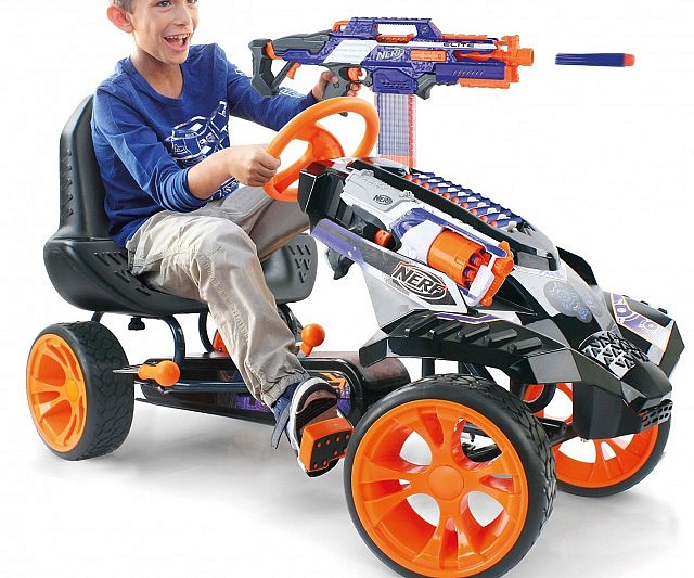 Engage in mobile warfare like never before by jumping on this NERF battle go-kart. This pedal-powered ride features a reinforced inverted trike design and comes with a quick response steering wheel for unmatched maneuverability.
