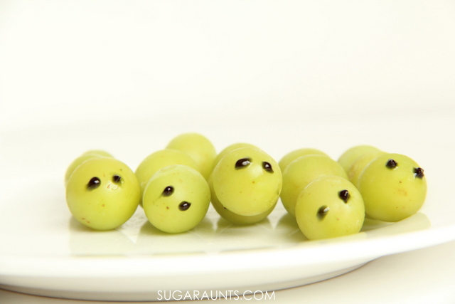 Frozen grapes caterpillar healthy snack for kids.