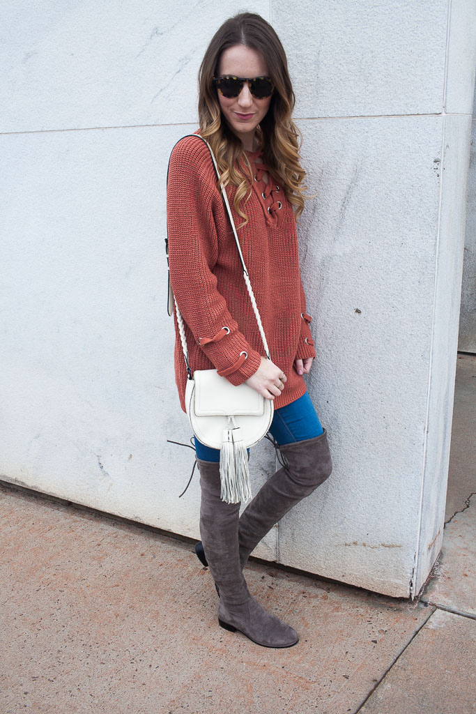 Lace up sweater and over the knee boots. These boots are under $100 and a perfect dupe for Stuart Weitzman's!