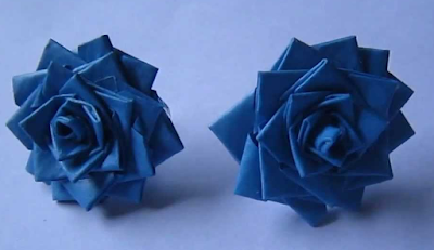 Blue rose quilling paper earrings for kids - Quillingpaperdesigns