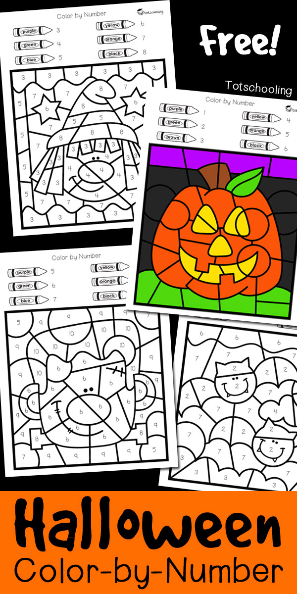 image regarding Color Words Printable identified as Halloween Coloration through Quantity Totschooling - Infant