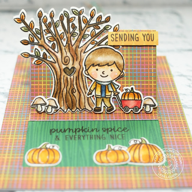 Sunny Studio Stamps: Fall Kiddos Happy Harvest Sliding Window Friendship Slider Card by Lexa Levana