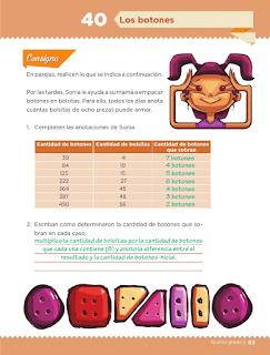 Respuestas Apoyo Primaria Desafíos Matemáticos 5to. Grado Bloque III Lección 40 Los botones