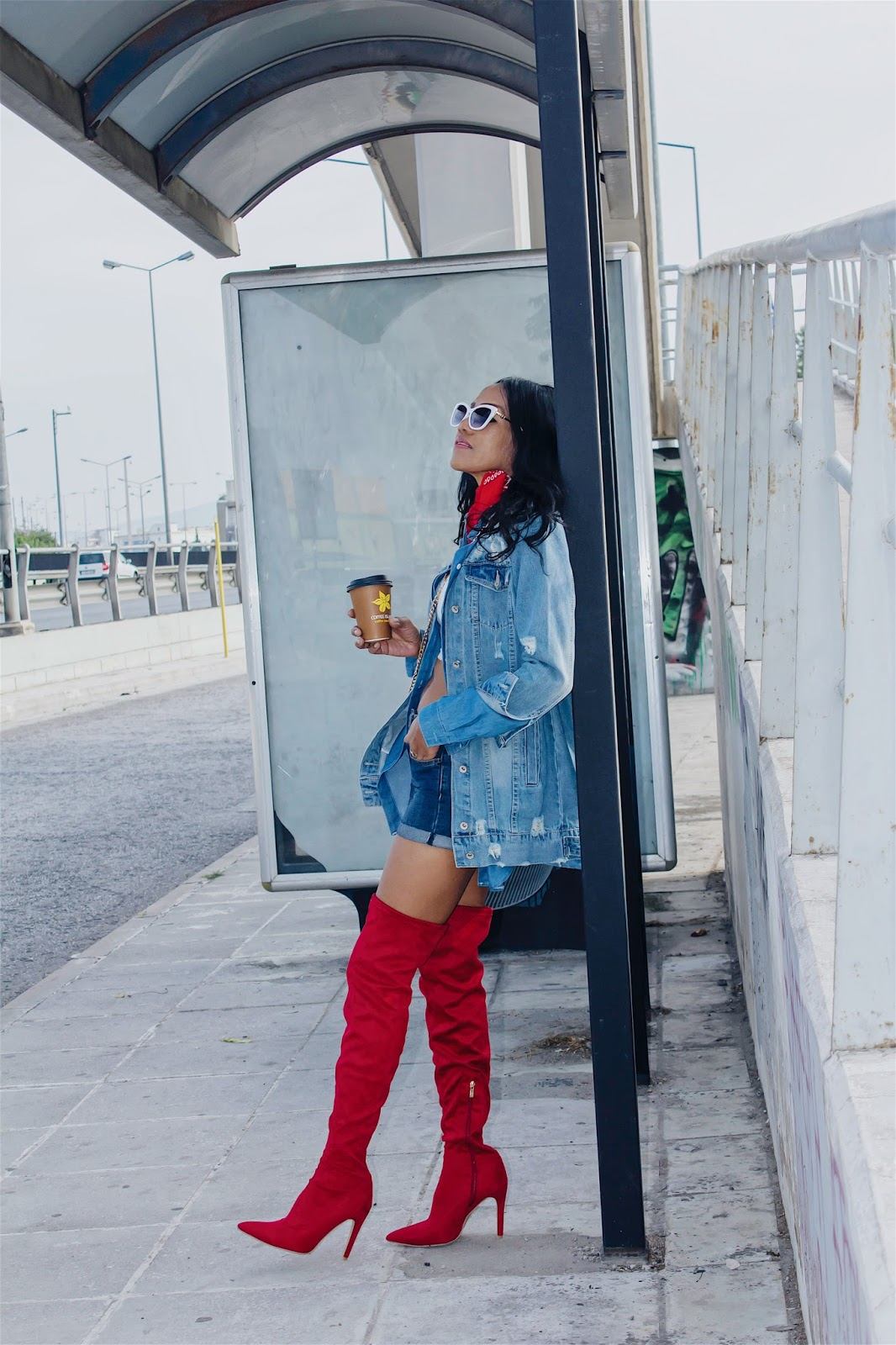 a65e3e2e8a1 Shop my RED POINTED TOE KNEE-HIGH HEELED BOOTS from Chicme and more! My  DISTRESSED DENIM COAT from Rosegal. Happy Shopping Thank you for reading!  xoxo