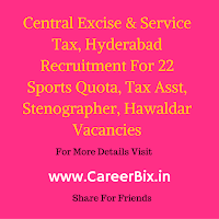 Central Excise & Service Tax, Hyderabad Recruitment For 22 Sports Quota, Tax Asst, Stenographer, Hawaldar Vacancies